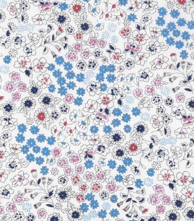 Tissu fleuri Froufrou- Blanc