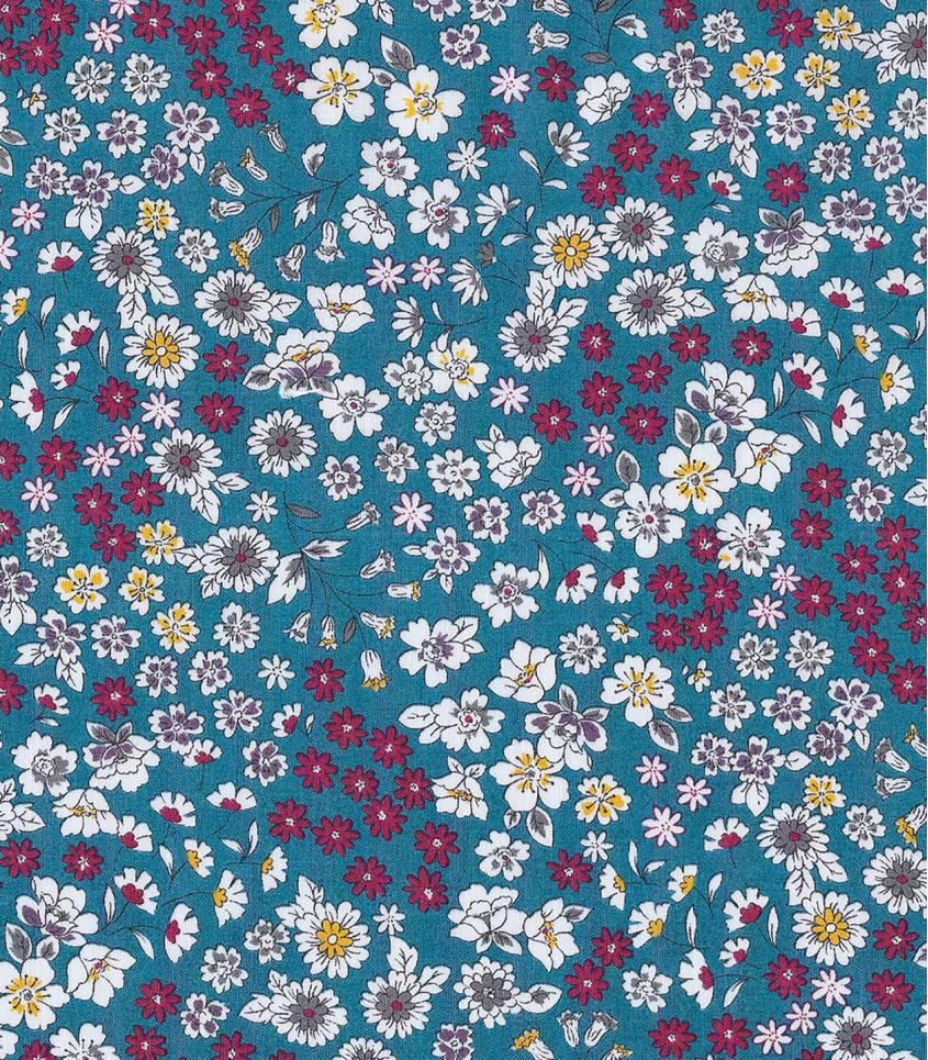 Tissu fleuri Froufrou- bleu canard
