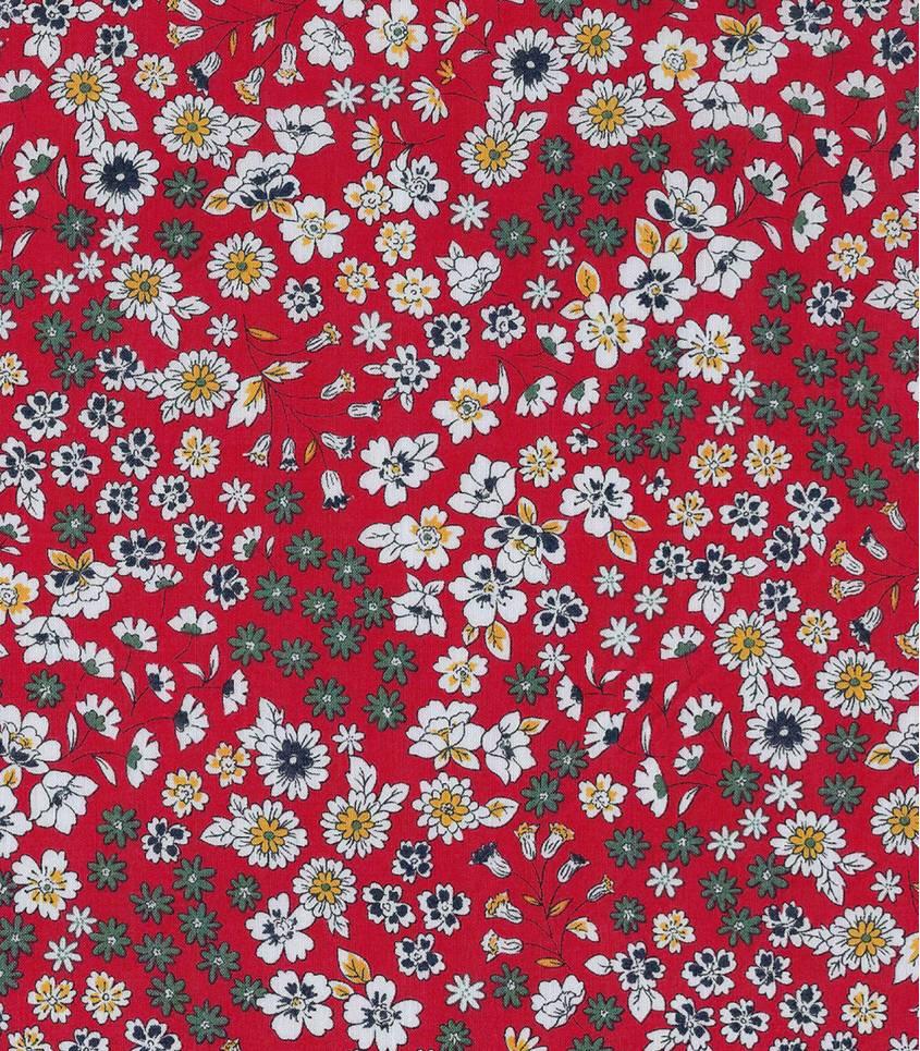Tissu fleuri Froufrou- Vermillon