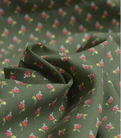 Tissu viscose Fleurs & pois or - Kaki
