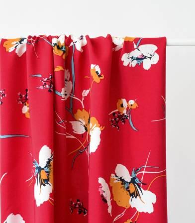 Tissu viscose Fleurs des champs - Rouge