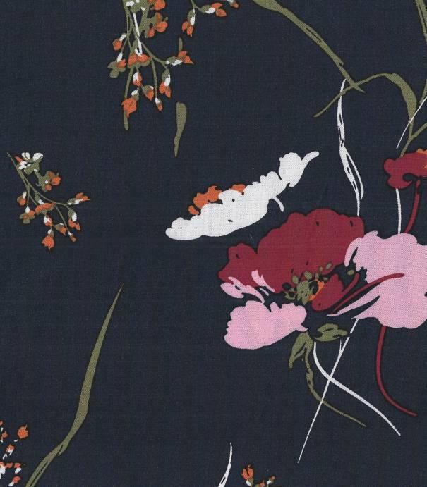 Tissu viscose Fleurs des champs - Bleu nuit