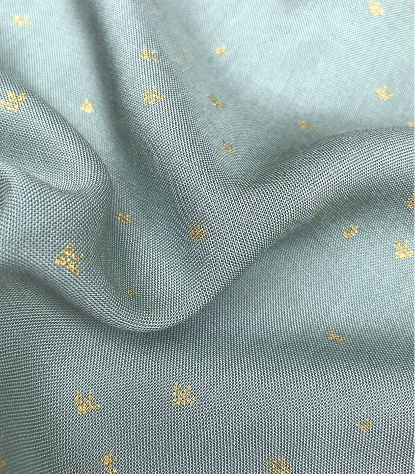 Tissu viscose Golden flowers - vert de gris