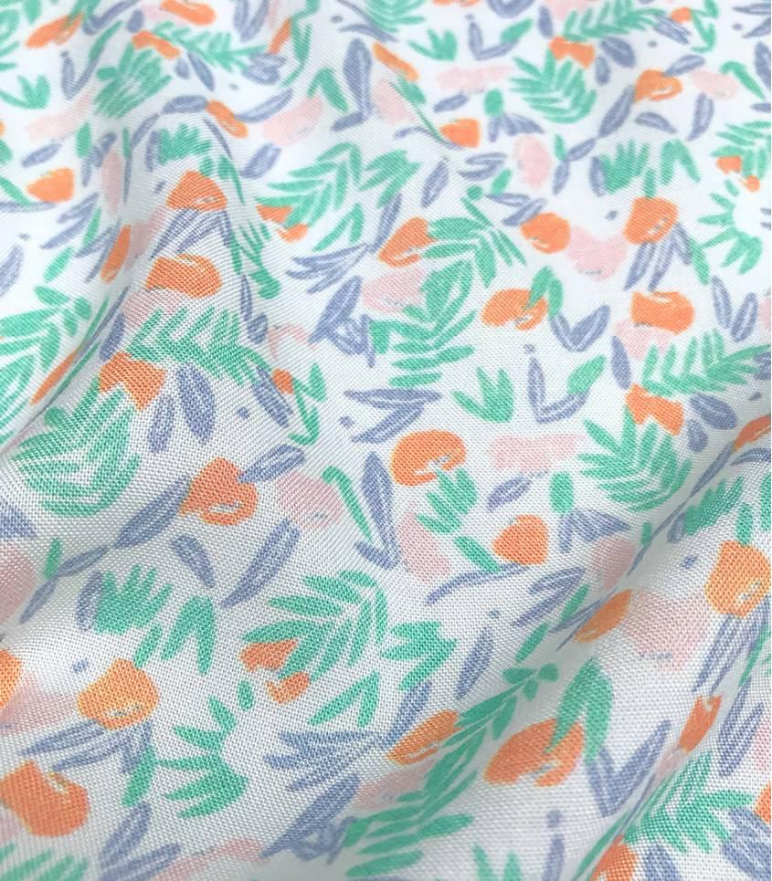 Tissu viscose Jungle de fleurs - abricot