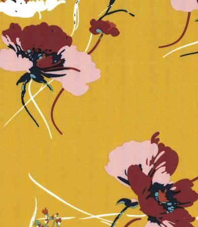 Tissu viscose Fleurs des champs - Miel