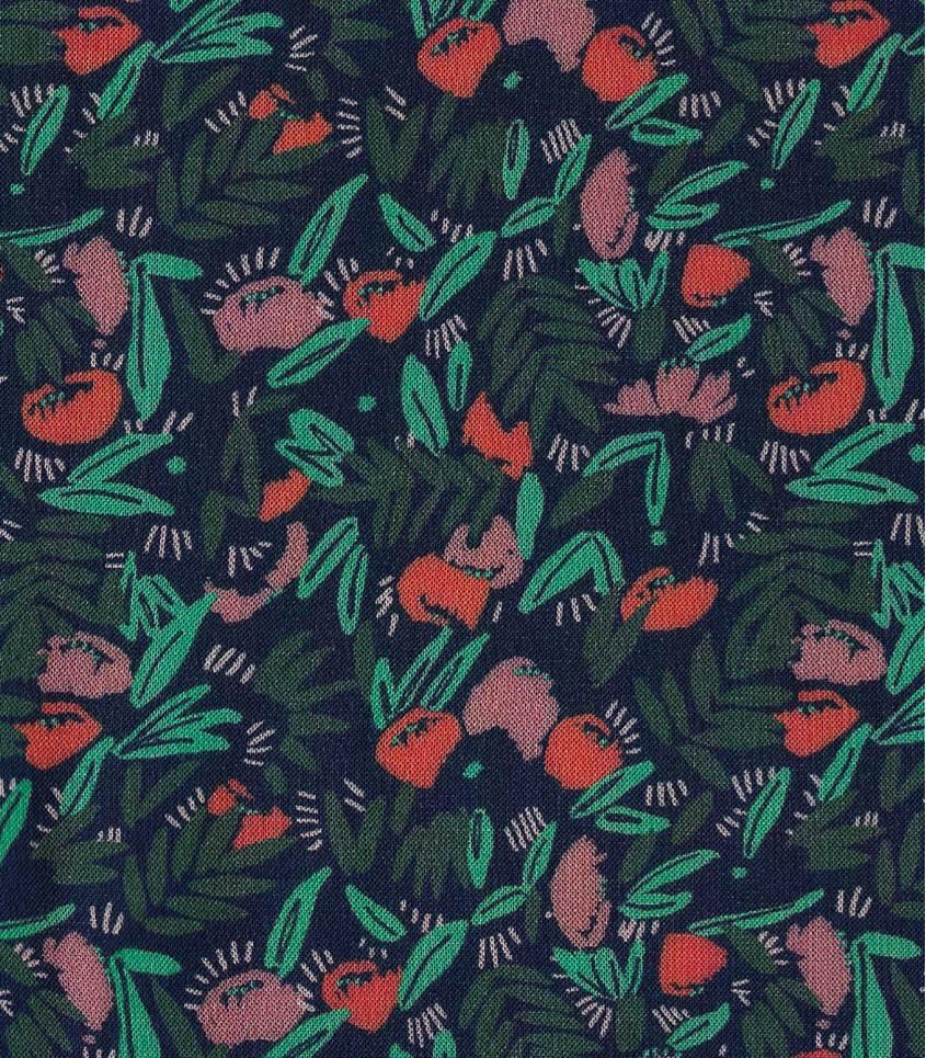 Tissu viscose Jungle de fleurs - dark