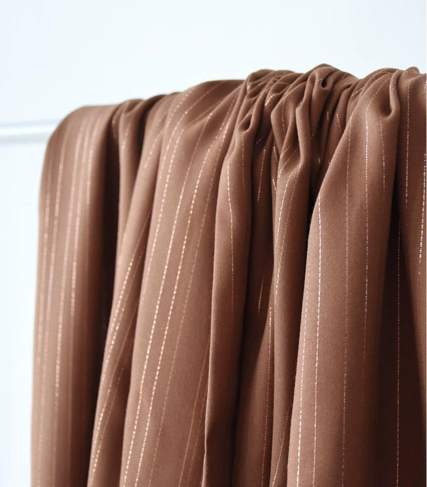 Tissu viscose Rayures cuivre - Camel