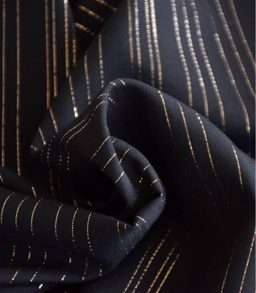 Tissu viscose Rayures cuivre - Noir