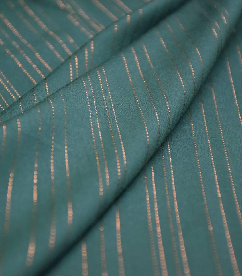 Tissu viscose Rayures cuivre - Forest