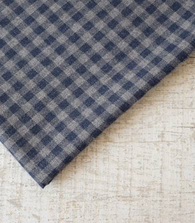 Tissu flanelle carreaux bicolores marine/gris