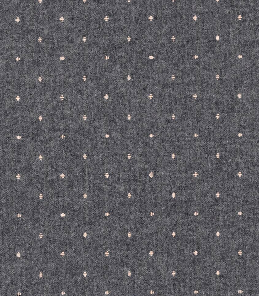 Tissu flanelle grise pois écrus