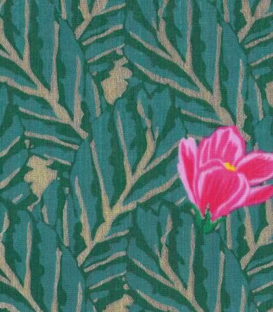 Tissu double gaze Hibiscus Emeraude Rico Design