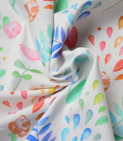 Tissu Jersey fleurs - Aquarelle