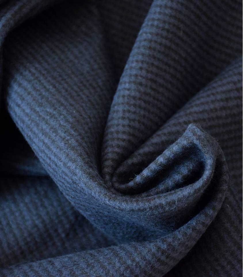 Tissu lainage - rayé bleu/noir