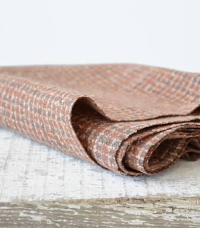 Tissu lainage carreaux - Camel