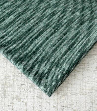Tissu lainage Petits chevrons Green