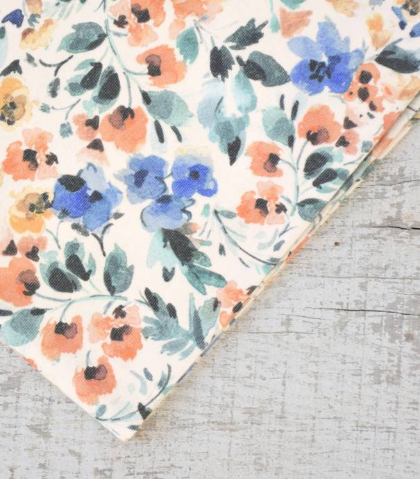 Tissu velours milleraies fin - Fleur aquarelle