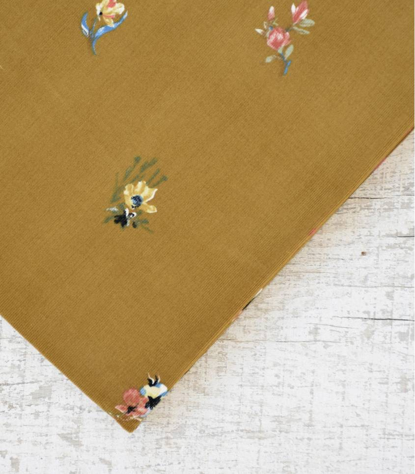 Tissu velours milleraies fin - Petites fleurs