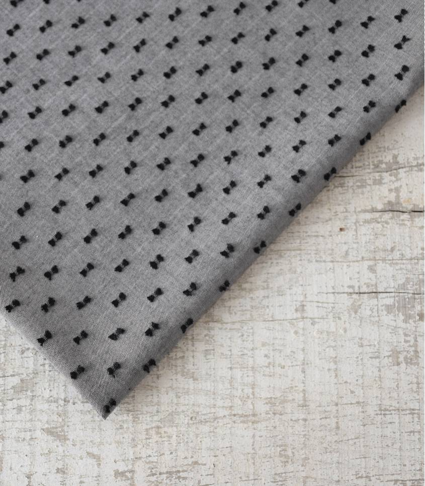 Tissu chambray plumetis bicolore - Noir