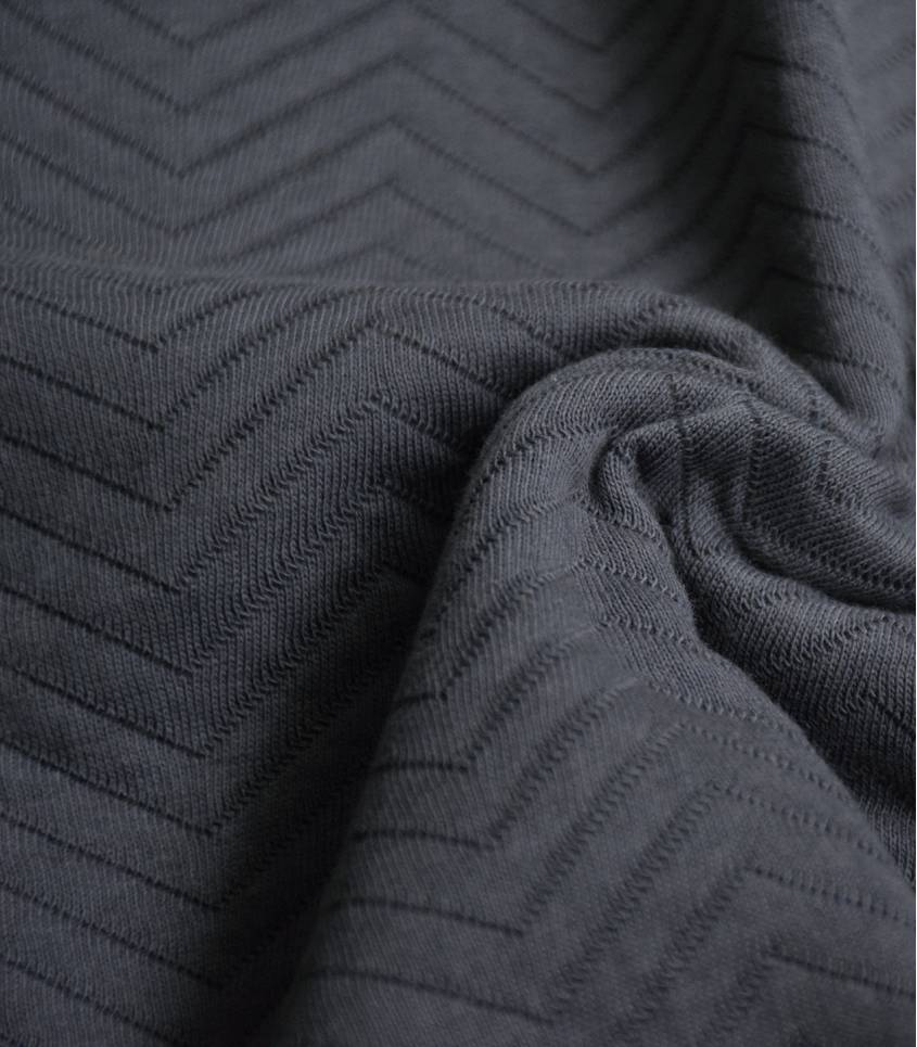 Tissu Jersey matelassé chevron - Asphalt
