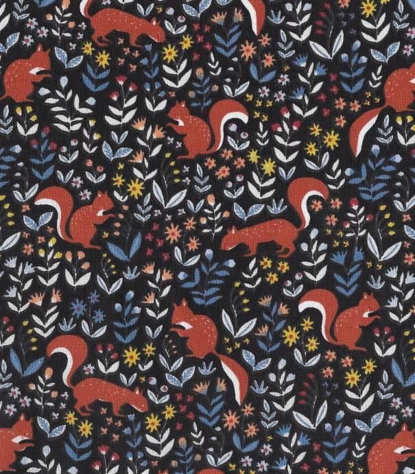 Tissu coton écureuils - Noir