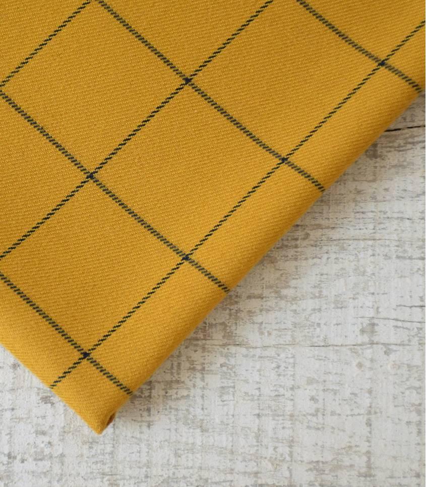 Tissu à carreaux - Jaune moutarde / noir