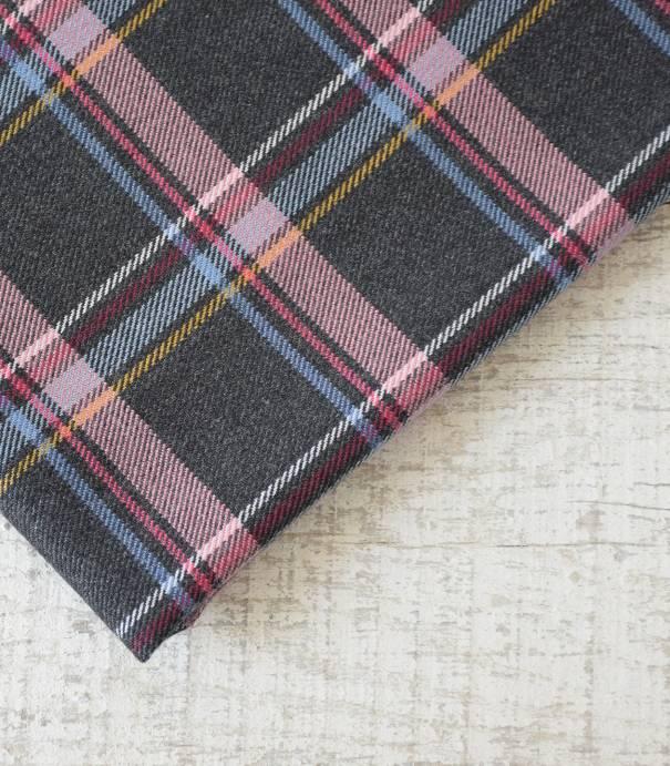 Tissu à carreaux écossais - Gris & rose