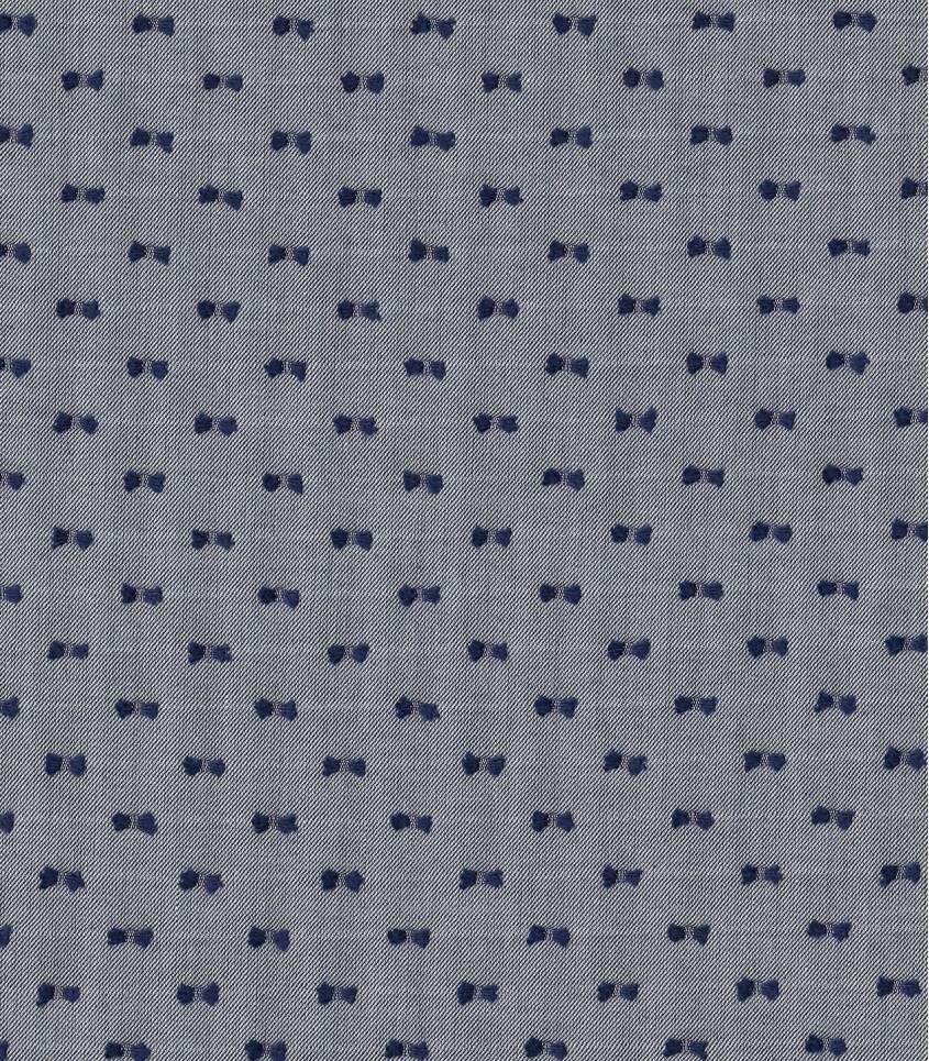Tissu chambray plumetis bicolore - Marine