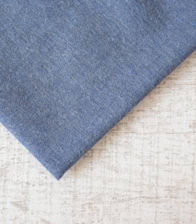 Tissu flanelle de coton Chevron Bleu
