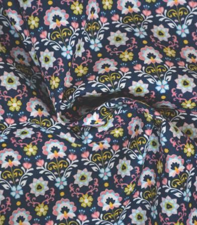Tissu velours milleraies Indira - Bleu