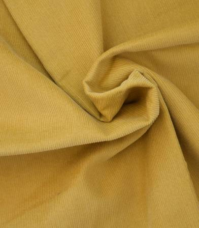 Tissu velours milleraies fin moutarde