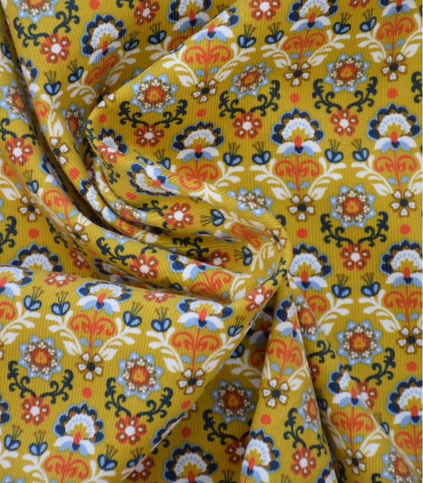Tissu velours milleraies Indira - Jaune moutarde