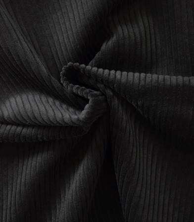 Tissu velours grosses côtes réglisse