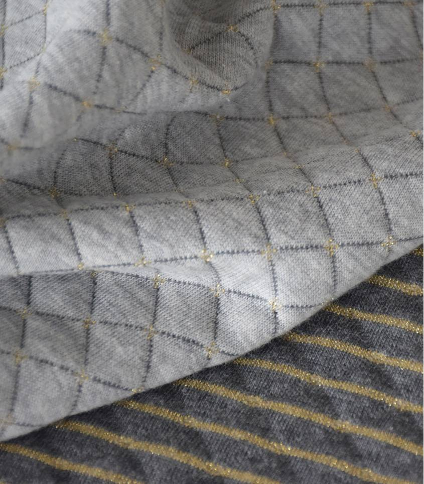 Jersey matelassé gris/or