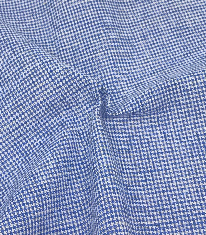 Tissu lin Pied de puce - bleu