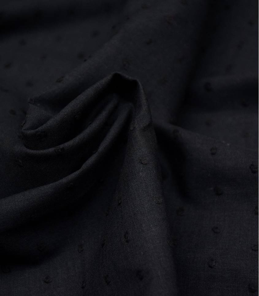 Tissu Plumetis de coton noir