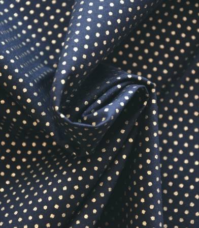 Tissu à pois - Or scintillant / Bleu marine