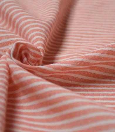 Tissu rayures chambray - Corail