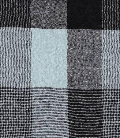 Tissu crépon de lin carreaux bleu