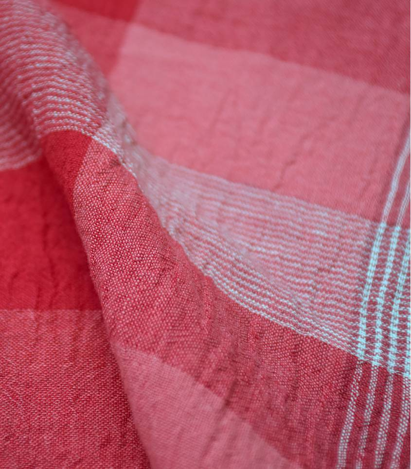 Tissu crépon de lin carreaux rouge