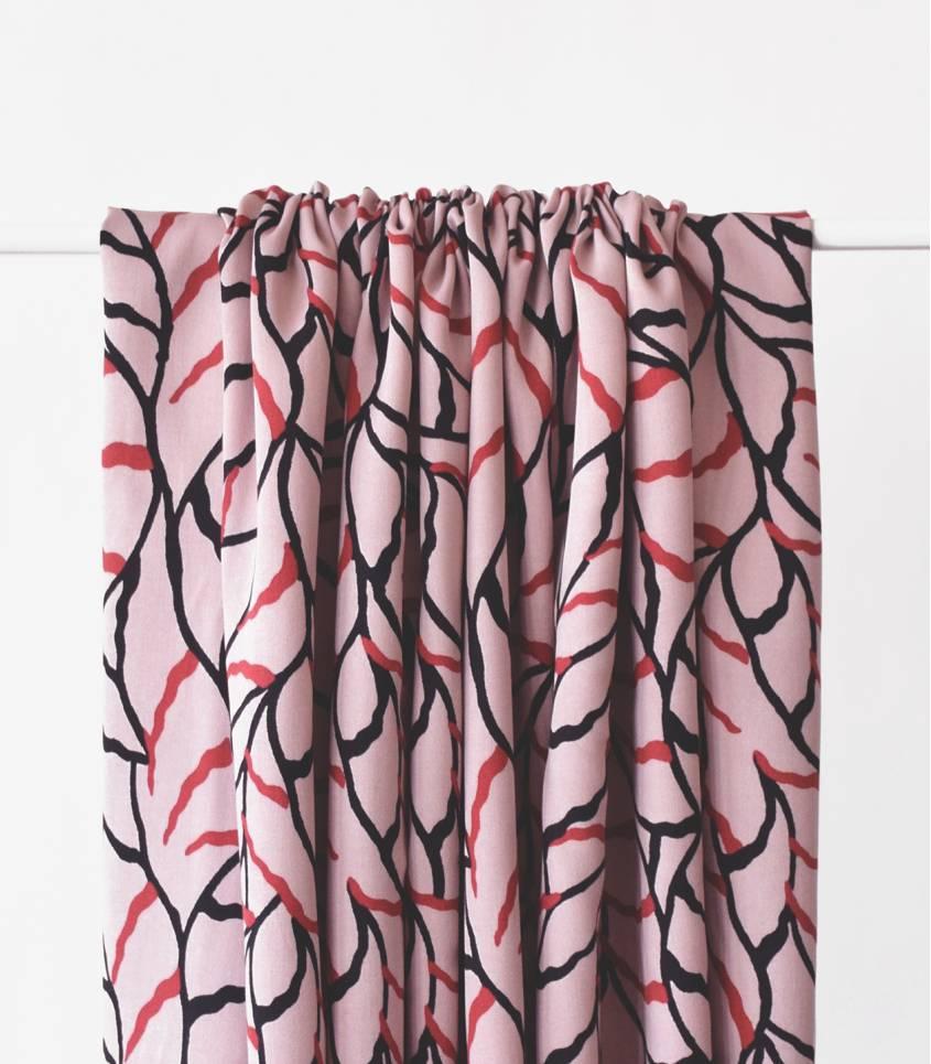 Tissu twill viscose - Feuilles d'automnes - Rose