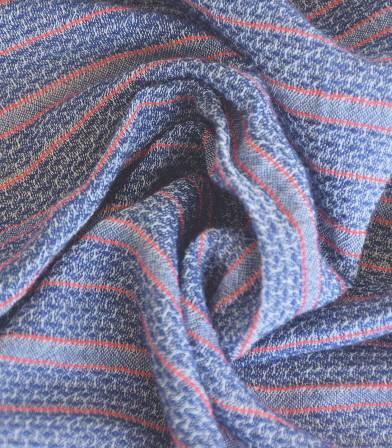 Tissu gaze de coton rayée - Bleu