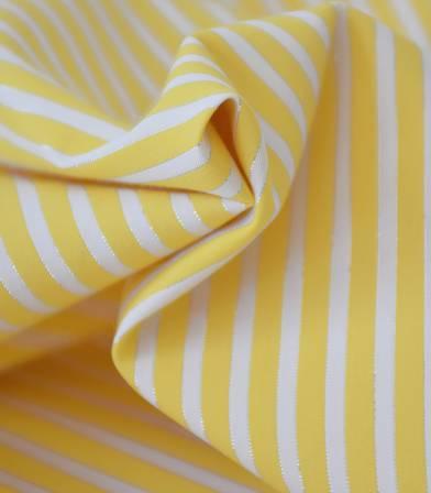 Popeline rayée -jaune/argent