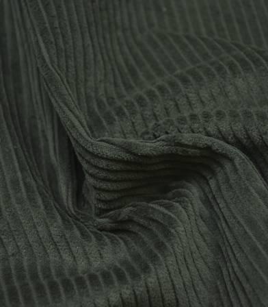 Tissu velours grosses côtes vert sombre