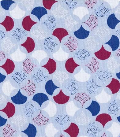 Tissu coton Froufrou Lisbonne - Ciel / bordeaux