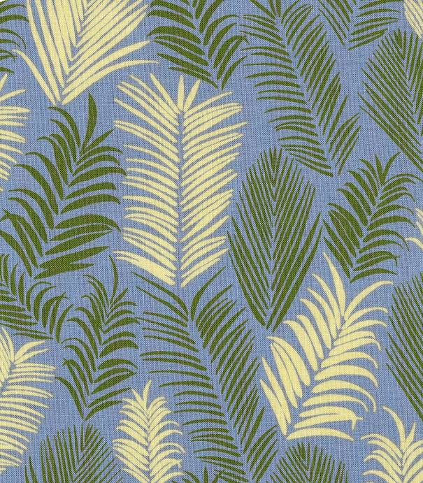 Tissu coton Froufrou Feuillage Rio - Bleu