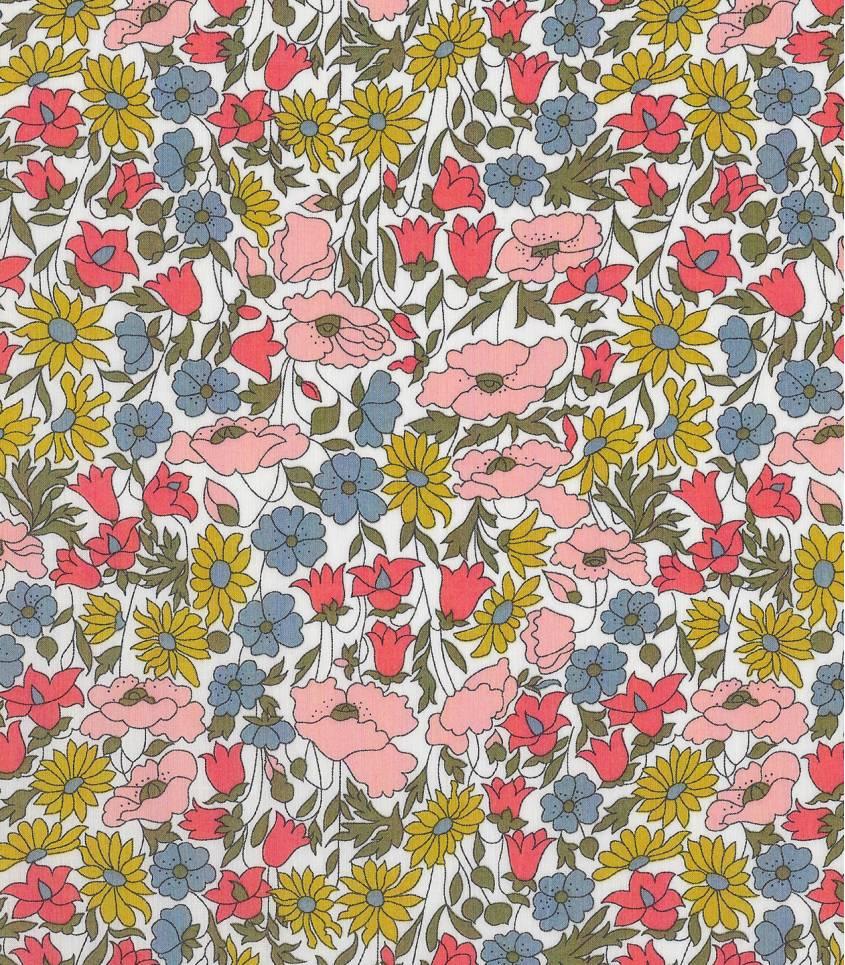 Tissu Liberty Poppy & Daisy acidulé