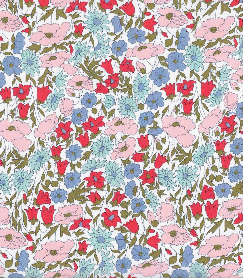 Tissu Liberty Poppy & Daisy blue/rose poudré