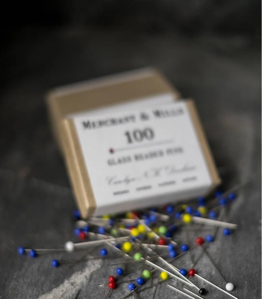 Glass headed pins x100
