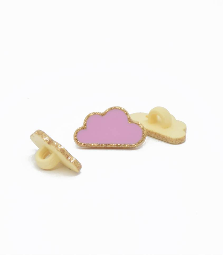 Boutons nuage - rose/or